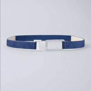 WHBM | Skinny Blue Suede Belt L NWT